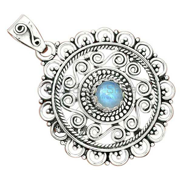 Natural Rainbow Moonstone India 925 Sterling Silver Pendant Jewelry SDP70009